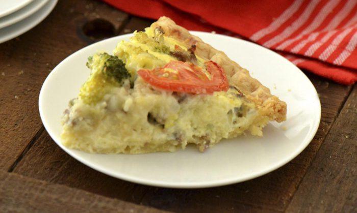 Savory Sage Sausage, Broccoli and Tomato Quiche
