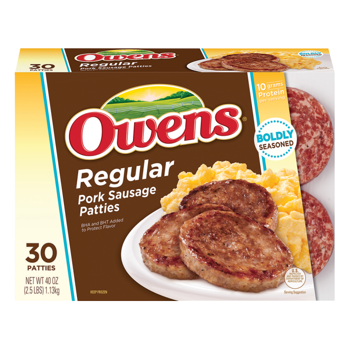 Owens® Frozen Pork Breakfast Sausage Regular 40 oz